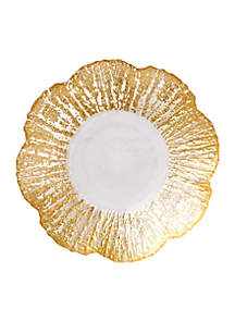 Ruffle Glass Gold Small Shallow Bowl 9.5-in.