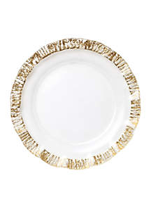 Ruffle Glass Gold Service Plate/Charger 12.75-in.