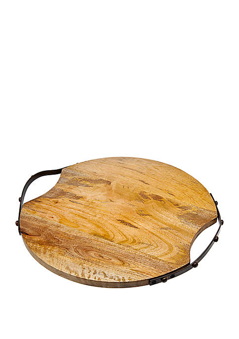 Godinger Large Round Wooden Tray with Metal Handles