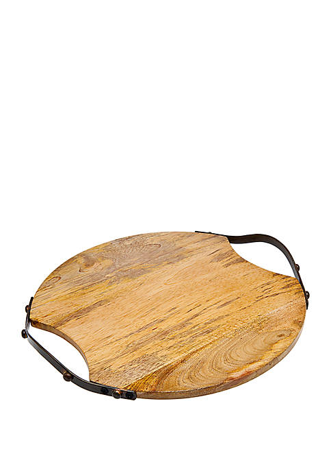 Godinger Small Round Wood Tray with Metal Handles