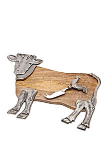 Godinger Cow Cheese Board with Knife