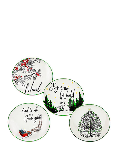 Godinger Set of 4 Appetizer Plates with Sayings