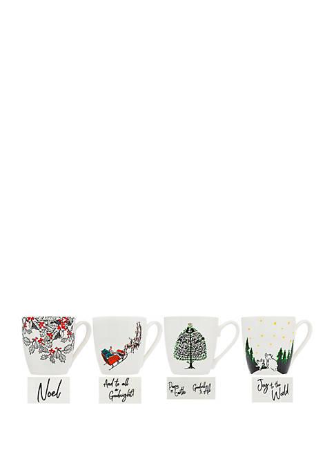 Godinger Set of 4 Mugs with Sayings