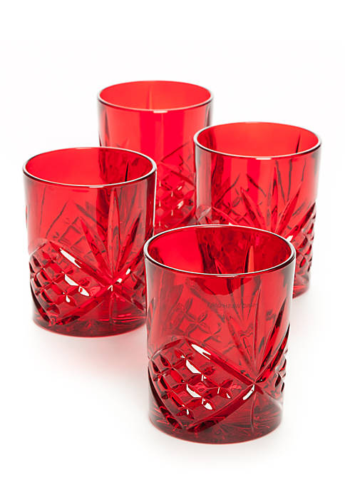 Godinger Dublin Red Double Old Fashion Glass, Set