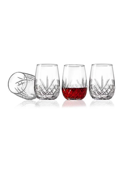 Godinger Dublin Set of 4 Stemless Wine Glasses