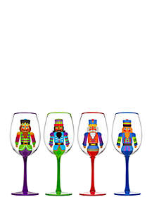 Set of 4 Holiday Gatherings Nutcracker Goblets