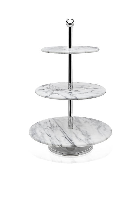 Godinger La Cucina White Marble 3-Tier Server