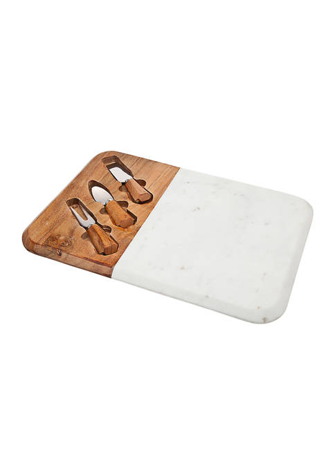 Godinger Marble and Wood Cheese Board with 3
