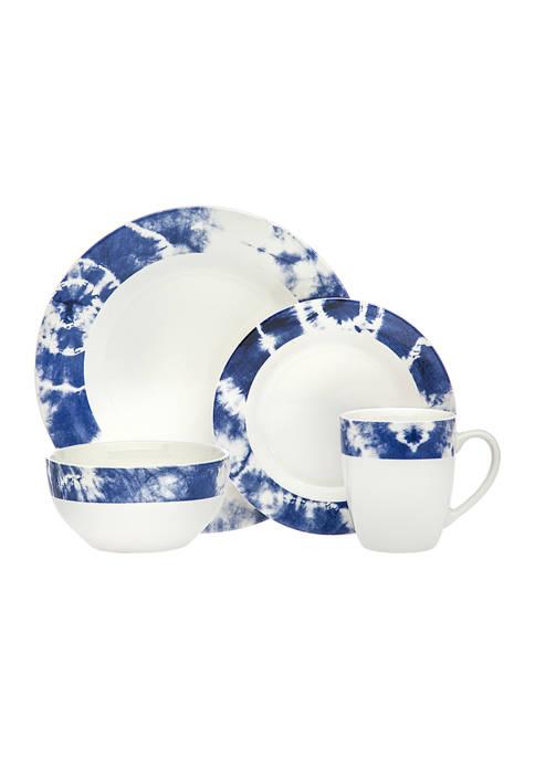 Godinger Blue Tie Dye Print 16-Piece Dinnerware Set