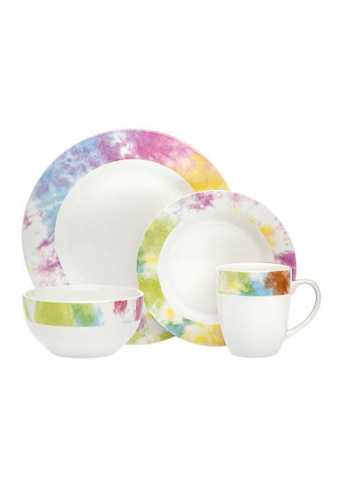 Godinger Multi-Color Tie Dye 16-Piece Dinnerware Set