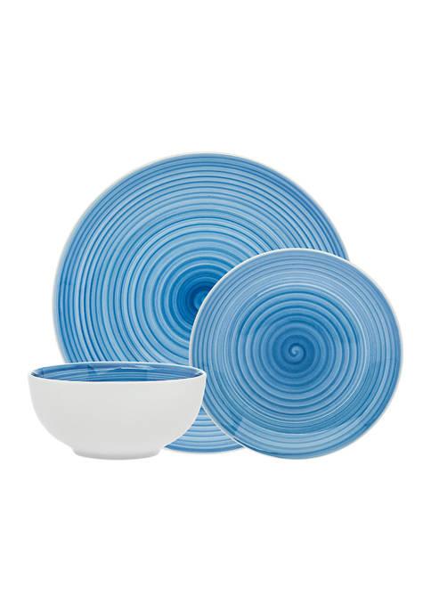 Godinger Spiral Blue 12-Piece Dinnerware Set