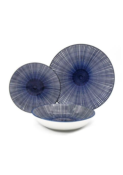 Godinger Laura Blue Swirl 12 Piece Dinnerware Set