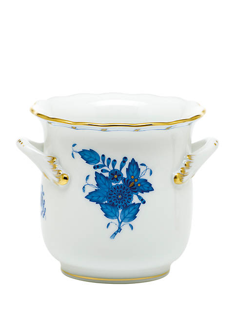 Chinese Bouquet Blue Mini Cachepot with Handles