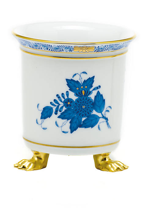 Chinese Bouquet Blue Mini Cachepot with Feet