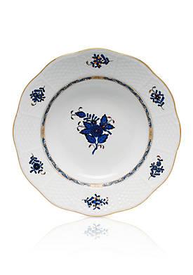 Chinese Bouquet Black Sapphire Rim Soup Plate