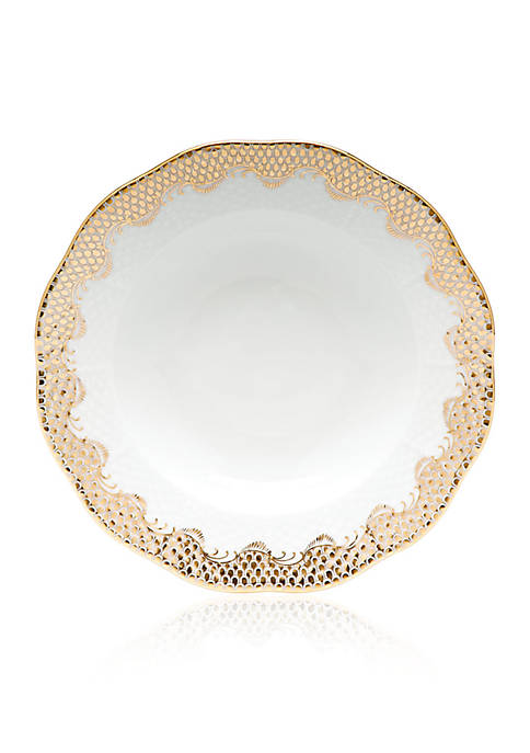 Herend Fish Scale Gold Rim Soup Plate 8-in.