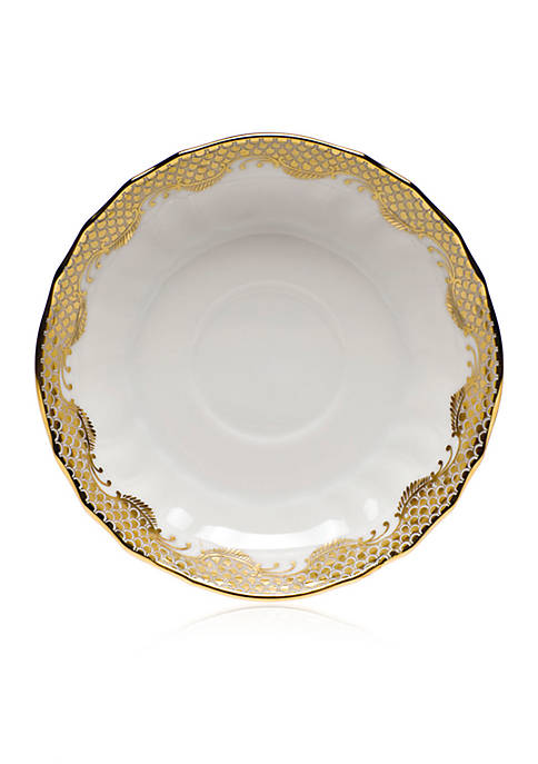 Herend Fish Scale Gold Canton Saucer 5.5-in. D