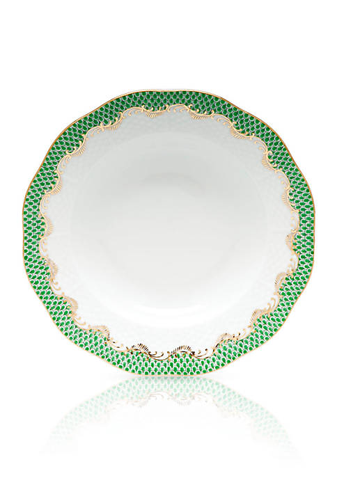 Herend Fish Scale Jade Rim Soup Plate