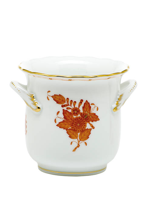 Herend Chinese Bouquet Rust Mini Cachepot with Handles