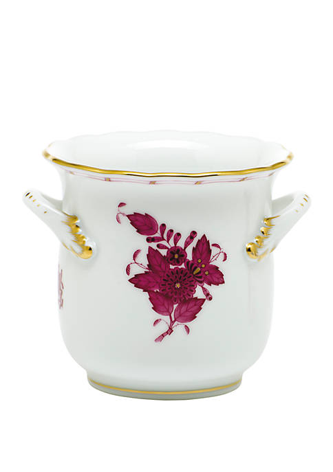 Herend Chinese Bouquet Raspberry Mini Cachepot with Handles