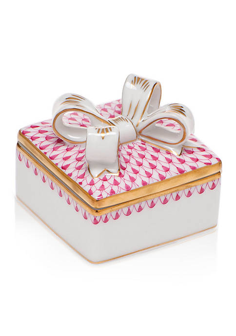 Square Box with Bow - Raspberry