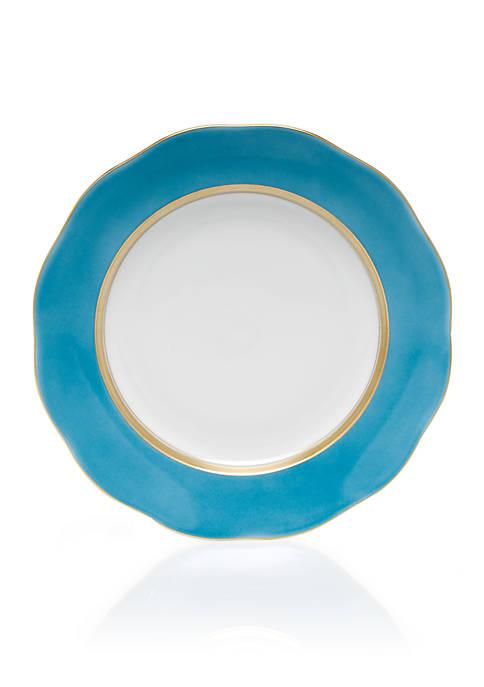 Silk Ribbon Turquoise Dessert Plate 8.25-in.