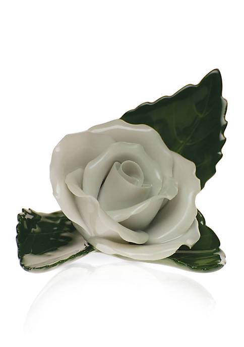 Herend Rose On Leaf Place Card Holder