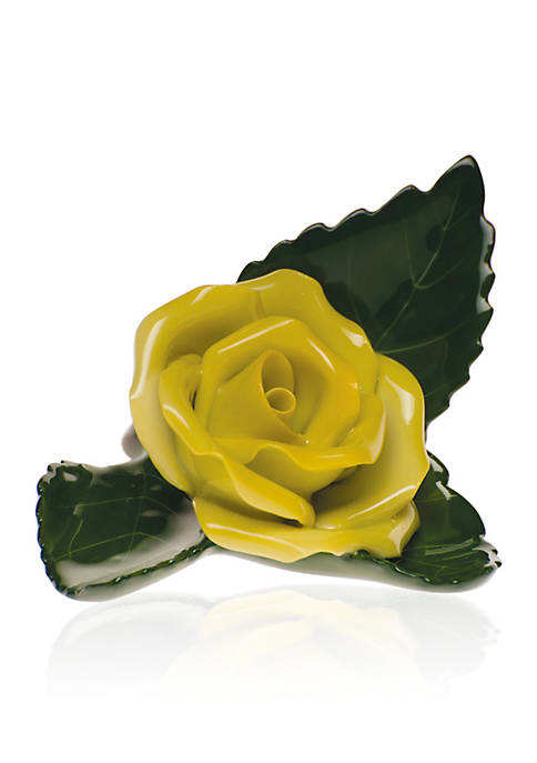 Rose On Leaf Place Card Holder - Yellow