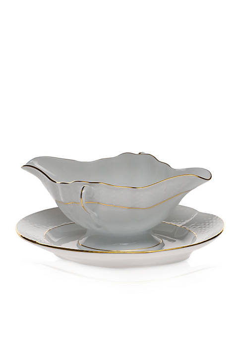 Herend Golden Edge Gravy Boat with Fixed Stand
