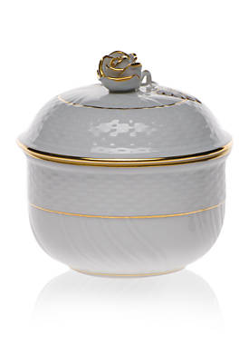 Golden Edge Covered Sugar Bowl w/ Rose