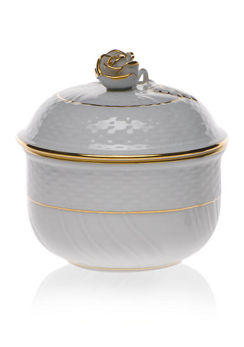 Herend Golden Edge Covered Sugar Bowl w/ Rose