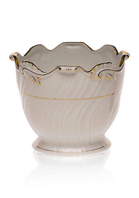 Herend Golden Edge Ribbed Cachepot