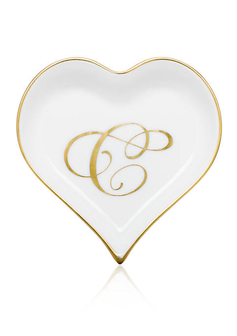 Herend Heart Tray w/ Gold Monogram C