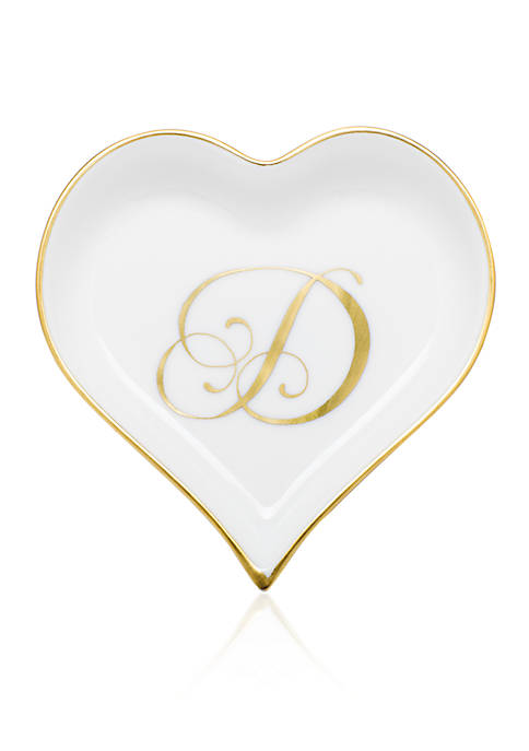 Herend Heart Tray w/ Gold Monogram D