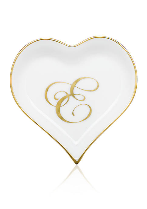 Herend Heart Tray w/ Gold Monogram E