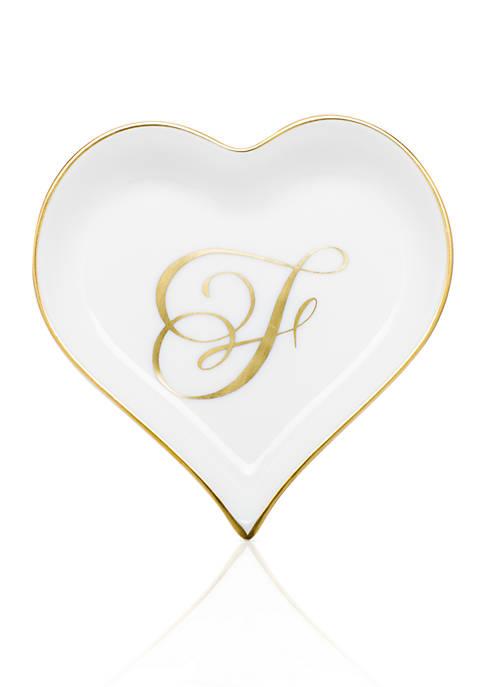 Heart Tray w/ Gold Monogram F