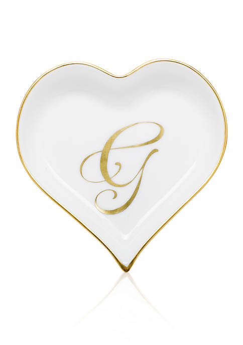 Herend Heart Tray w/ Gold Monogram G