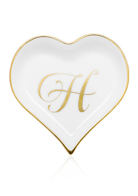 Herend Heart Tray w/ Gold Monogram H