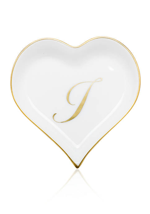 Herend Heart Tray w/ Gold Monogram I