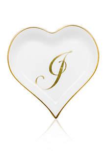 Heart Tray w/ Gold Monogram J