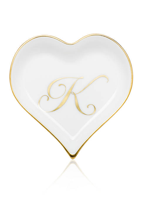 Herend Heart Tray w/ Gold Monogram K
