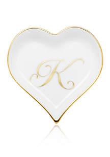 Heart Tray w/ Gold Monogram K