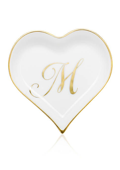Herend Heart Tray w/ Gold Monogram M