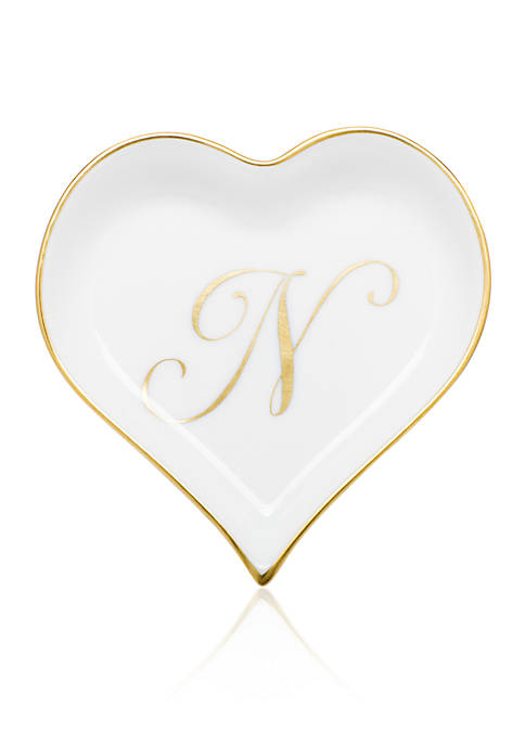 Herend Heart Tray w/ Gold Monogram N