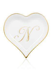 Heart Tray w/ Gold Monogram N