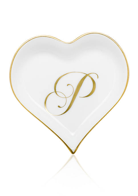 Herend Heart Tray w/ Gold Monogram P