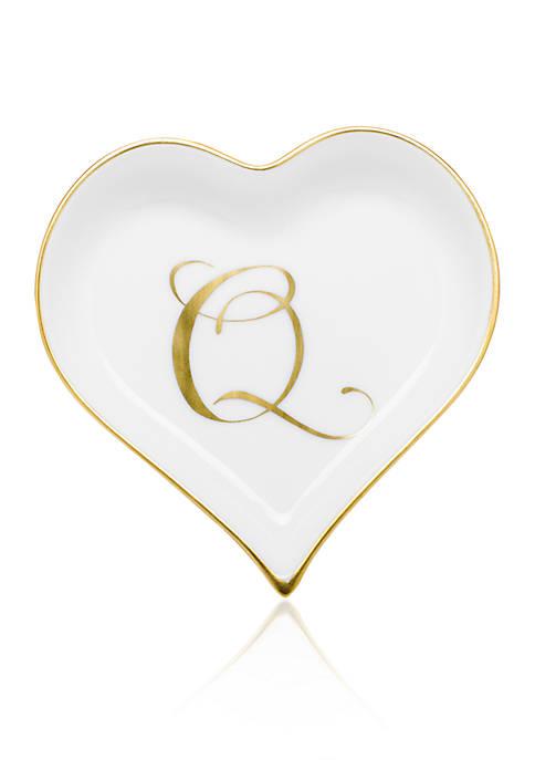 Heart Tray w/ Gold Monogram Q