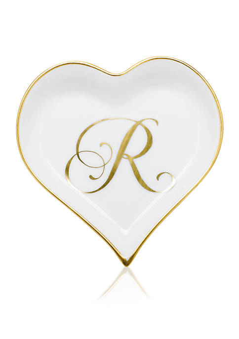 Herend Heart Tray w/ Gold Monogram R