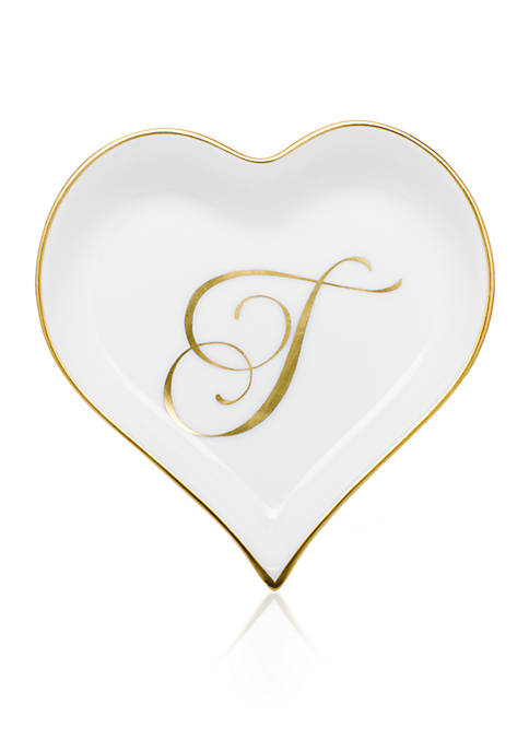 Herend Heart Tray w/Monogram T