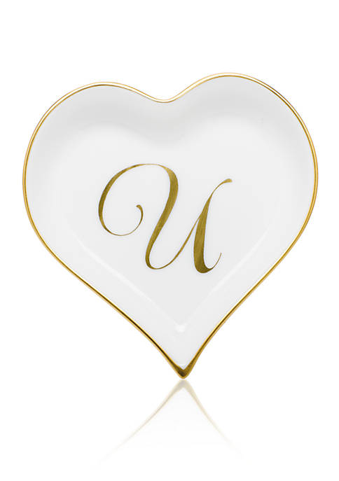 Herend Heart Tray w/Monogram U